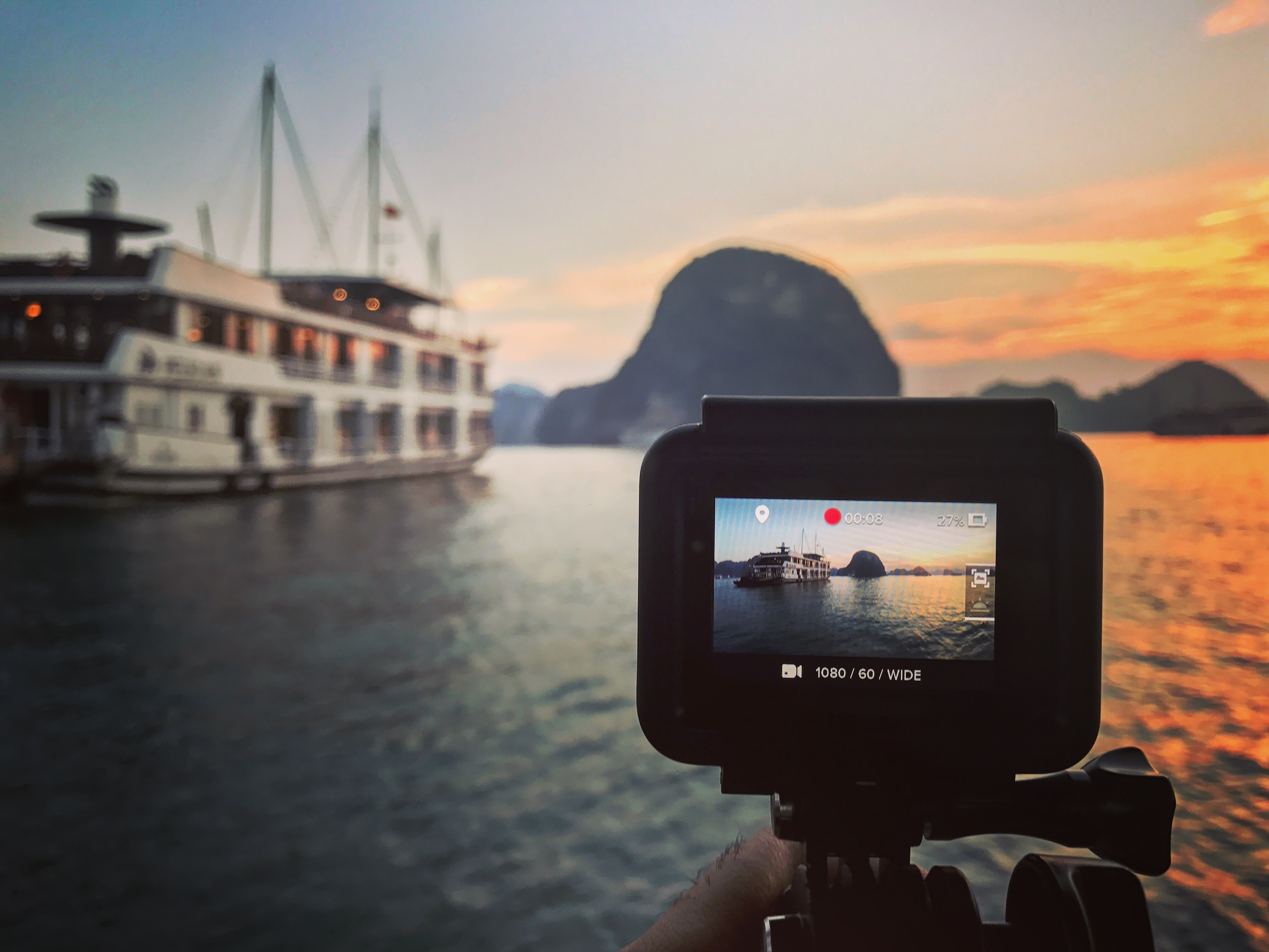 Filming the Sunset at Halong Bay in Vietnam