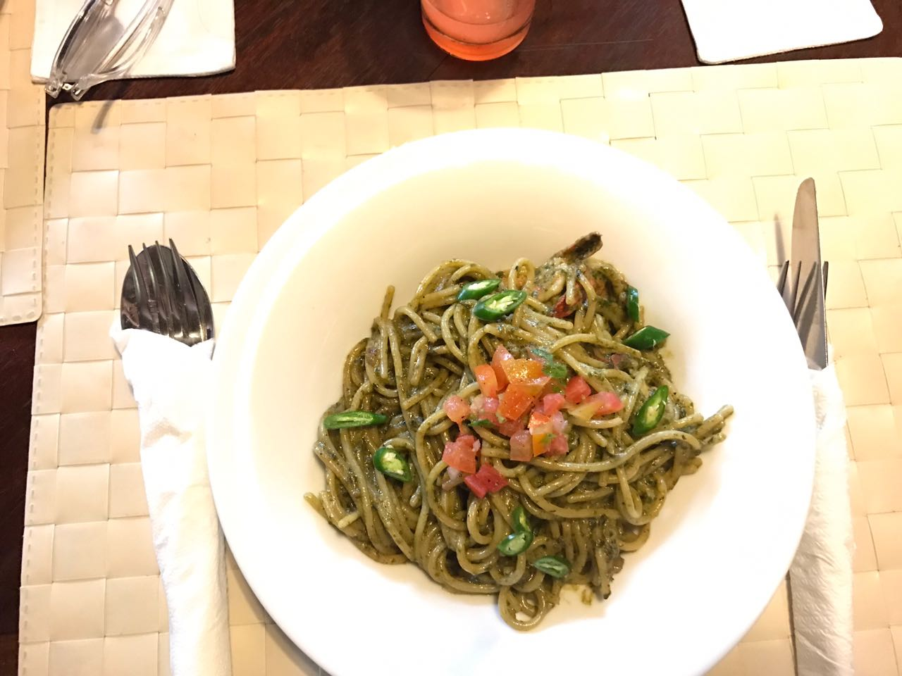 The most delicious pesto spaghetti, my favourite meal of the trip