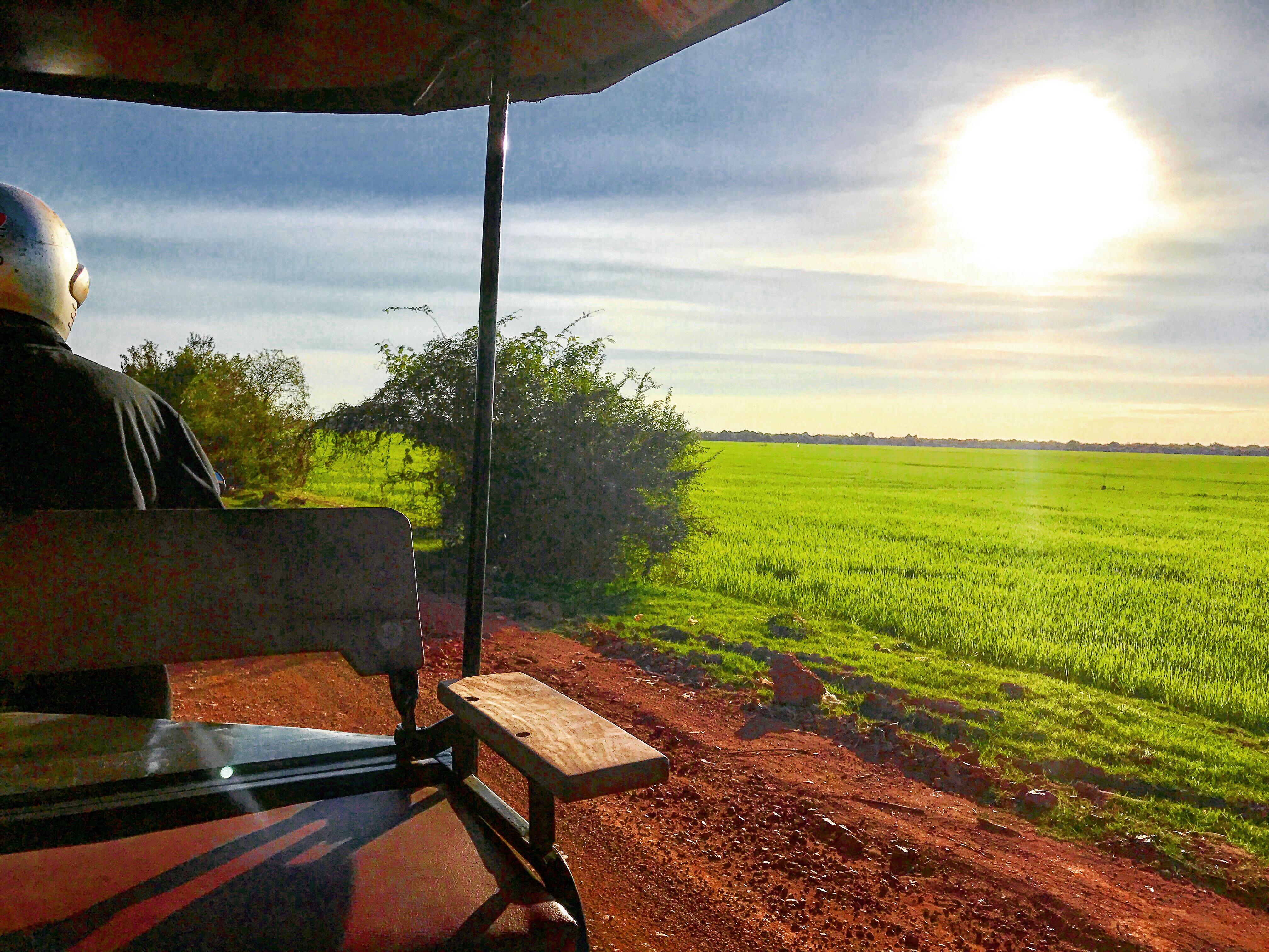 Riding a Tuk Tuk through the Countryside in Siem Reap , Cambodia