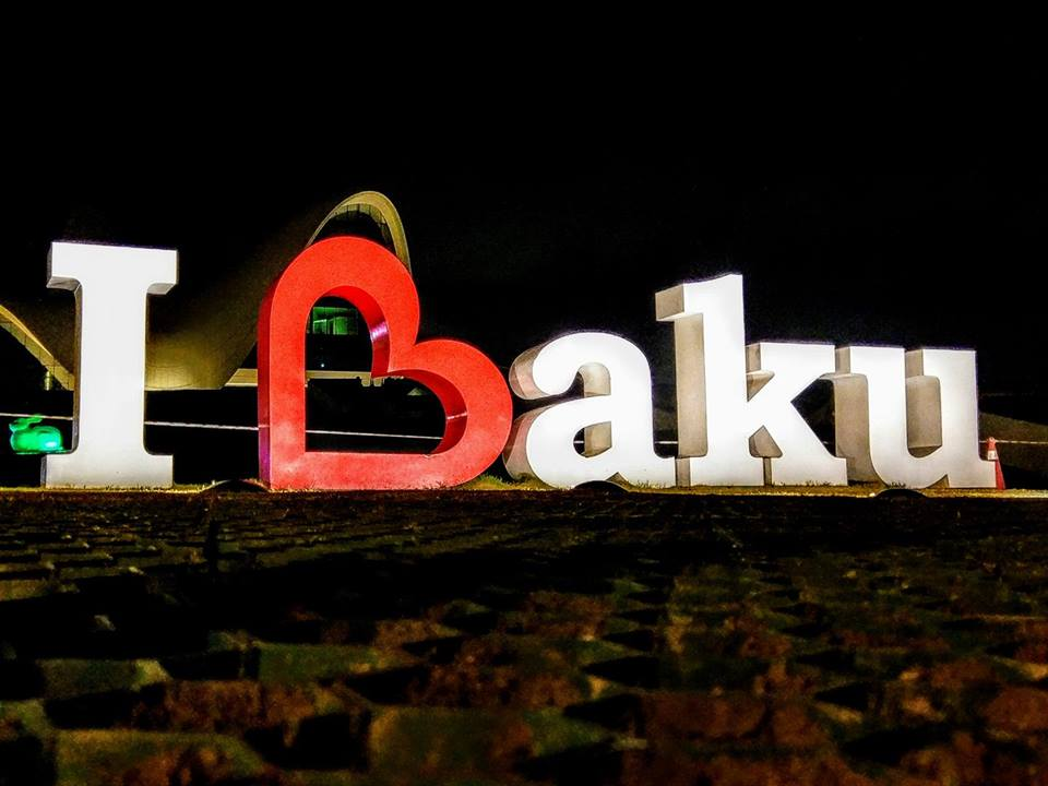 The renowned I Love Baku sign outside the Cultural Centre
