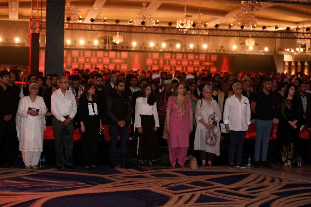 National Anthem with Mian Yousaf Salahuddin, grandson of Allama Iqbal, Salima Hasmi & Muneeze Hashmi, daughters of Faiz Ahmed Faiz